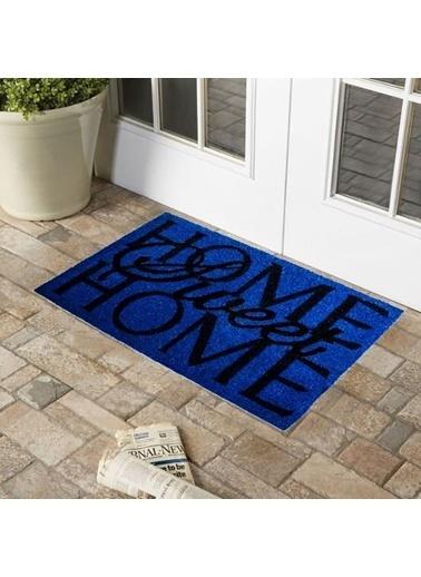 Giz Home Koko Kapı Paspası 45X75 Mavi Home Sweet Home Renkli